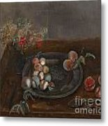 Fruit And Flowers On A Table Metal Print