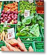 Fruit And Vegetable Stall Metal Print