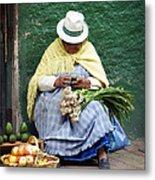 Fruit And Vegetable Vendor Cuenca Ecuador Metal Print