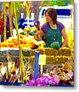 Fruit And Vegetable Vendor Roadside Food Stall Bazaars Grocery Market Scenes Carole Spandau Metal Print