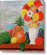Fruit Flowers And Castle Metal Print