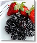 Fruit Iv - Strawberries - Blackberries Metal Print