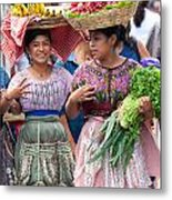Fruit Sellers In Antigua Guatemala Metal Print by David Smith