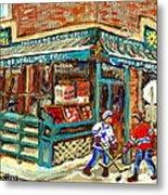 Fruiterie Epicerie Soleil Verdun Montreal Depanneur Paintings Hockey Art Montreal Winter City Scenes Metal Print