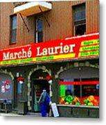 Fruiterie Marche Laurier Butcher Boulangerie De Pain Produits Quebec Market Scenes Carole Spandau  Metal Print