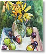 Fruits And Camomiles Metal Print