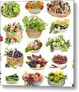 Fruits And Flowers In A Baskets Metal Print