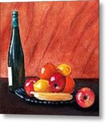 Fruits And Wine Metal Print