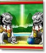 Fu Dog Guardians Metal Print