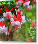 Fuchsia Blooms With Scripture Metal Print