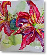 Fuchsia Lilies Metal Print by Terri Maddin-Miller