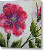 Fuchsia Rose And Bud Metal Print by Terri Maddin-Miller