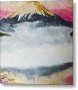 Fuji Mountain In The Fog Metal Print
