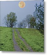 Full Moon And A Country Road Metal Print