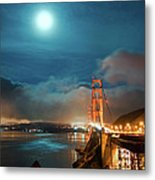Full Moon And Fog Over The Golden Gate Bridge Metal Print
