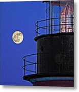 Full Moon And West Quoddy Head Lighthouse Beacon Metal Print
