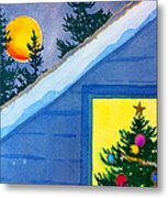 Full Moon At Christmas Metal Print