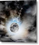 Full Moon  In Stormy Sky Metal Print