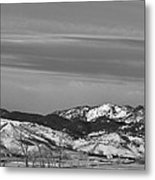 Full Moon On The Co Front Range Bw Metal Print