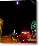 Full Moon Over Dallas Streets Metal Print