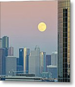 Full Moon Over Downtown Houston Skyline Metal Print
