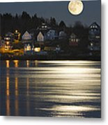 Full Moon Over Kennebec River Georgetown Island Maine Metal Print