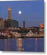 Full Moon Over Pioneer Square Metal Print