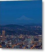 Full Moon Rising Over Portland Cityscape Metal Print