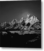 Full Moon Sets In The Teton Mountain Range Metal Print