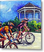 Fun Time In Bicycling Metal Print