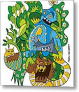 Funky Animals Nature Doodle Metal Print