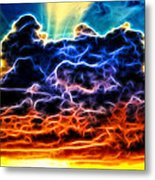 Funky Glowing Electrified Rainbow Clouds Abstract Metal Print