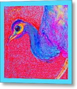 Funky Peacock Bird Art Prints Metal Print