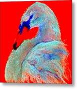 Funky Swan Blue On Red Metal Print