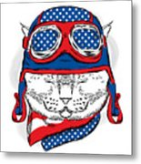 Funny Cat In The Hat And Scarf. Vector Metal Print