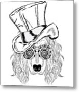 Funny Dog In An Unusual Hat And Metal Print