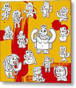 Funny Doodle Characters Urban Art Metal Print
