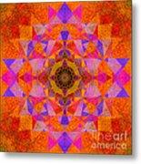 Fushia Yantra Diamond Mandala Metal Print