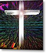 Futuristic Cross Pattern Metal Print