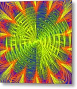 Futuristic Disc Blue Red And Yellow Fractal Flame Metal Print