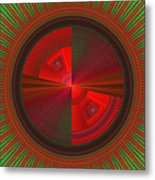 Futuristic Green And Red Tech Disc Fractal Flame Metal Print