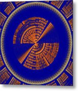 Futuristic Tech Disc Blue And Orange Fractal Flame Metal Print