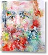 Fyodor Dostoyevsky - Watercolor Portrait.4 Metal Print