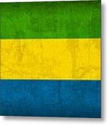 Gabon Flag Vintage Distressed Finish Metal Print