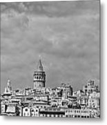 Galata Tower Mono Metal Print