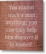 Galileo Quote Science Astronomy Math Physics Inspirational Words On Canvas Metal Print
