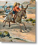 Galloping Donkey At The Beach Metal Print