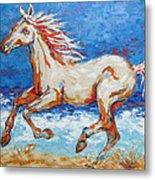 Galloping Horse On Beach Metal Print
