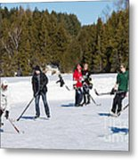 Game Of Ice Hockey On A Frozen Pond  Metal Print
