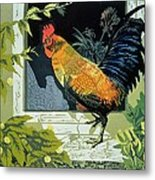 Gamecock And Hen Metal Print